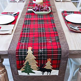 Cotton & Burlap Buffalo Check Table Runner, Double Layer Plaid Table Runner for Thanksgiving, Christmas Table Decoration, Family Dinners or Gatherings, Red & Brown, 14 x 70 Inch