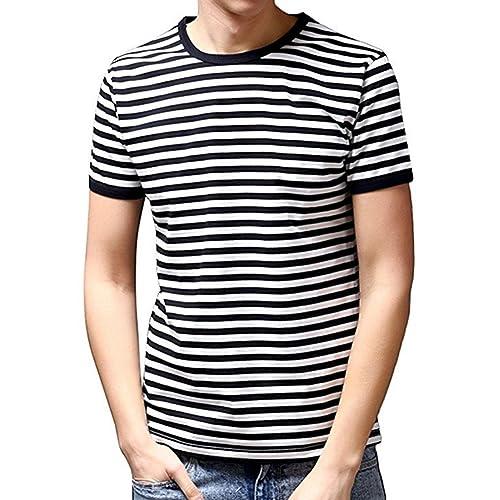 03f51e455c Ezsskj Men's Short Sleeve Crew Neck Black White Striped T Shirt Tee Outfits  Tops