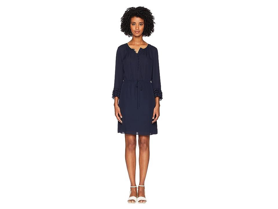 Rebecca Taylor Long Sleeve Georgette Ruffle Dress (Navy/Navy) Women