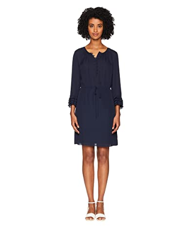 Rebecca Taylor Long Sleeve Georgette Ruffle Dress (Navy/Navy) Women