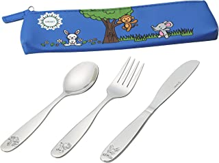 18/10 Stainless Steel Kids Silverware, Child and Toddler Safe Cutlery Flatware - 12 Piece Eating Utensil Set with 4 Knives, 4 Forks, 4 Spoons - Portable Travel Carrying Pouch Included