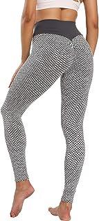 Sfit Leggins Mujer Push Up Mallas de Deporte de Mujer Cintura Alta Malla Celular Pantalón de Elásticos Butt Lifter Anti-Ce...
