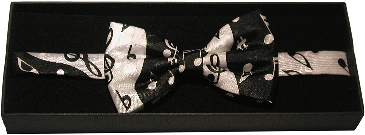 Ying Yang Music Notes Fancy Polyester Bow Tie