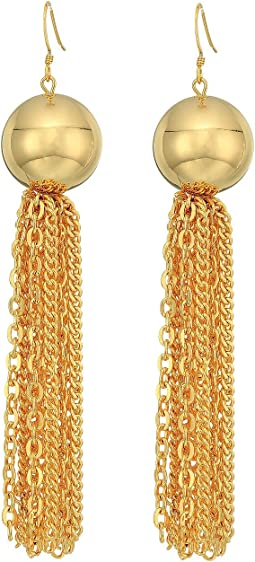 Kenneth Jay Lane Polished Gold Ball with Tassel Fishhook Earrings