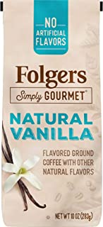 Folgers Simply Gourmet Natural Vanilla Flavored Ground Coffee, 10 Ounces