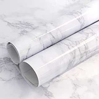 "Gray Marble Contact Paper Waterproof Marble Contact Paper for Countertop Marble Contact Paper Removable Wallpaper Stick an Peel Thick Self Adhesive White Marble Contact Paper Vinyl Roll 78.7""x15.7"""