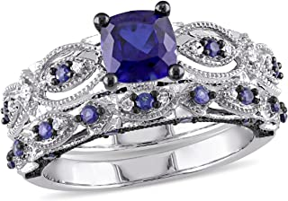 Created Blue Sapphire 2.00 Carat (ctw) with Diamond 1/10 Carat (ctw) Engagement Ring and Wedding Band Set 10K White Gold Black Rhodium Plated