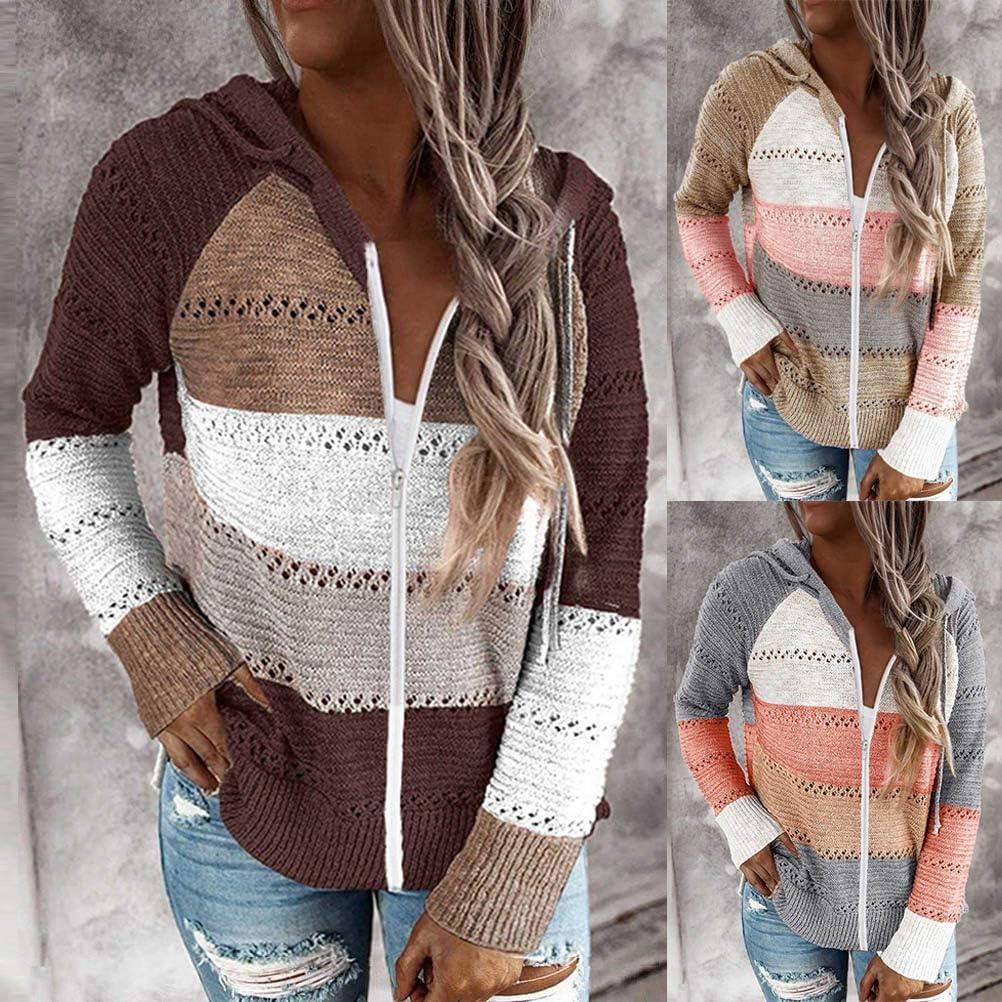 Minetom Damen Knit Hoodie Sweatshirts Langarm Hoodies Casual Patchwork Stricken Kapuzenpullover Gestrickt Herbst Pullover Tops B Orange