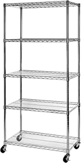 Seville Classics SHE18370BZ UltraDurable Commercial-Grade 5-Tier NSF-Certified Wire Shelving with Wheels, 36