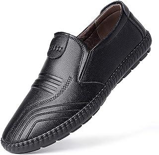 Zapatos casuales Zapatos casuales de los hombres, cuero de moda casual sobreses, banda plana elástica. (Color : Black, Siz...