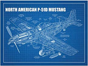 "Inked and Screened SP_Avia_P-51D BG_24_W North American P-51D Mustang Print, 18"" x 24"", Blue Grid-White Ink"