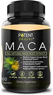 100% Natural Maca Extract 750mg – 60 Capsules – Natural Peruvian Maca Root Powder Supplement – Promotes Energy & Immune He...