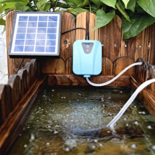 Birdbath for Fishing Solar//USB Charging 3 Levels Oxygen Output GBGS Solar Air Pump Bubblier/Aquarium Aerator Water Container 13.32WH Lithium Battery 2 Air Stones+8ft Horse