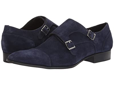 Massimo Matteo Suede Double Monk Classic (Navy Blue Suede) Men