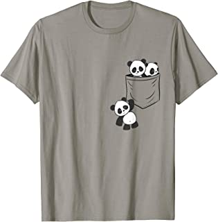 For Panda Lovers Cute Kawaii Baby Pandas In Pocket T-Shirt