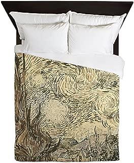 CafePress Van Gogh Starry Night Drawing Queen Duvet Cover, Printed Comforter Cover, Unique Bedding, Microfiber