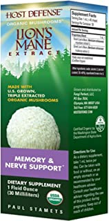 Host Defense, Lion's Mane Extract, Promotes Mental Clarity, Focus and Memory, Daily Mushroom Supplement, Vegan, Organic, Gluten Free, 1 fl oz (30 Servings)