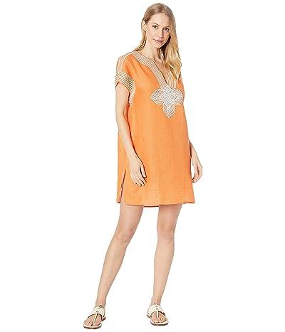 Tory Burch Swimwear Embroidered Beach Tunic Cover-Up (Blazing Sky) Women