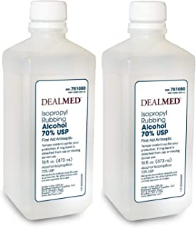 Dealmed Isopropyl Rubbing Alcohol 70% USP, First Aid Antiseptic, 16 fl. oz. (2 Pack)