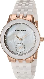 Anne Klein Women's Swarovski Crystal Accented Ceramic Bracelet Watch, AK/3612
