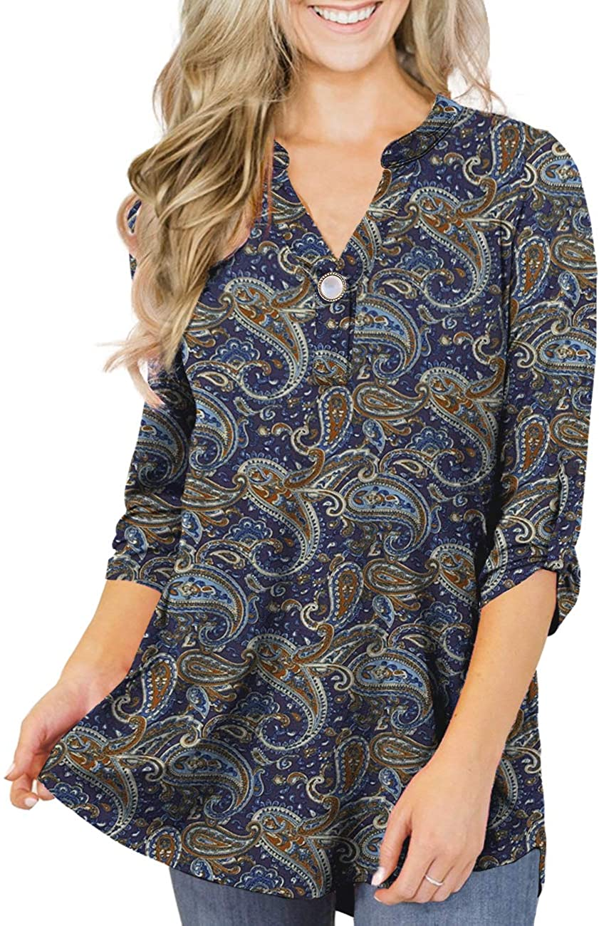 LIENRIDY Women's Plus Size Tunic Tops 3/4 Roll Sleeves Blouses V Neck Henley Shirts M-4X