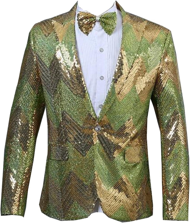 Fensajomon Mens Sequins Dance Prom Dress Slim 1 Button Blazer Jacket Coat