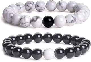 iSTONE Distance Bracelets Black Matte Agate & White Howlite Energy Healing Stone Beads Bracelet Set Couple Jewelry