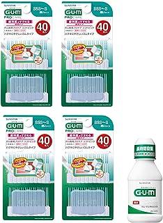 GUM(ガム) 歯周プロケア ソフトピック 40P 歯間ブラシ ゴムタイプ [サイズ:SSS~S] 4個パック+おまけつき