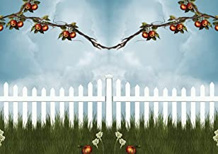 JP London MDXL4042PS uStrip Peel and Stick Apple Tree Summer Picket Fence Removable Full Wall Mural, 12' x 8.5'