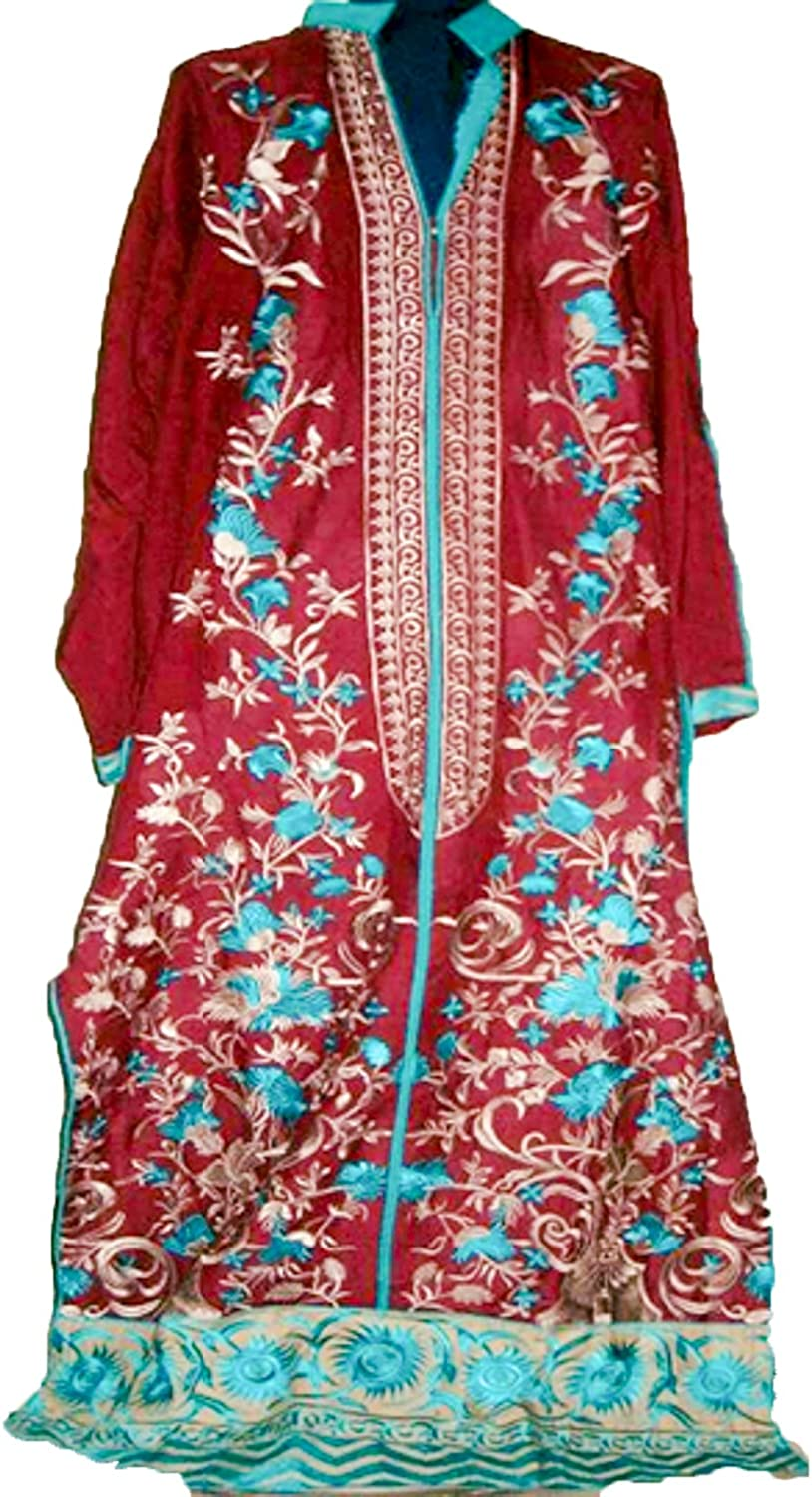 Casual Dresses for Women Fashion 3 Piece Linen Maroon Pakistani Dress, Medium