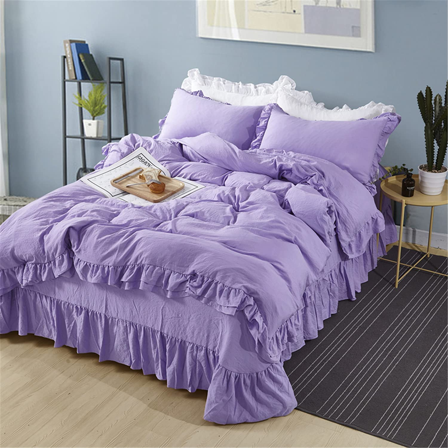MOOWOO New Ranking TOP13 products world's highest quality popular Ruffle Duvet Cover Set and Microf Breathable Washed Soft