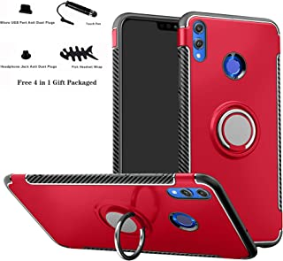 Honor 8X case,Labanema Hybrid Dual Layer 360 Degree Rotation Ring Holder Kickstand Armor Slim Protective Cover for Huawei Honor 8X - Red