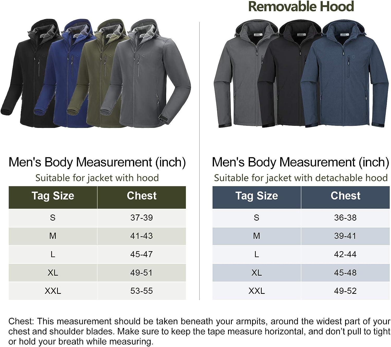 Outdoor Ventures Men's Tactical Softshell Jacket Hooded Fleece Lined Water Resistant Winter Hiking Jackets