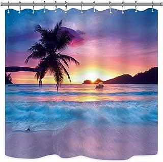 JOOCAR Beach Shower Curtain Ocean Sunrise Tropical Palm Tree Island Hawaiian Sunset Sea Waves Summer Bathroom Home Decor Set Waterproof Polyester 72X72 Inch 12 Pack Plastic Hooks