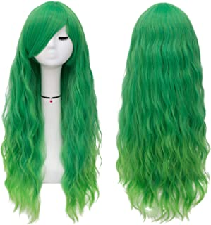 Mildiso Long Green Wigs for Women Fluffy Curly Wavy Cosplay Costume Wig with Bangs M062I