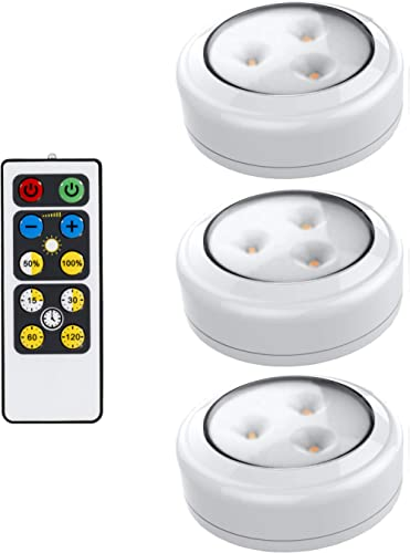 Brilliant Evolution LED Puck Light 3 Pack with Remote | Wireless LED Under Cabinet Lighting | Under Counter Lights fo...