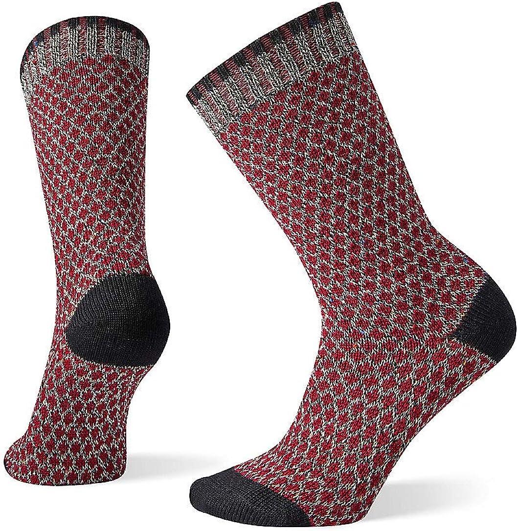 Smartwool Women's Popcorn Polka Dot Crew Merino Wool Socks, Black-Multi Donegal, Small