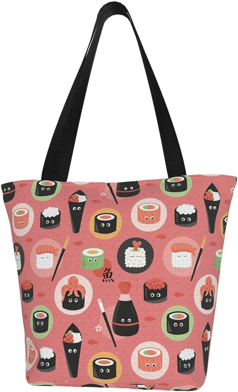 Japanese Sushi Kawaii Cute Octopus Rice Themed Printed Women Canvas Handbag Zipper Shoulder Bag Work Booksbag Tote Purse Leisure Hobo Bag For Shopping