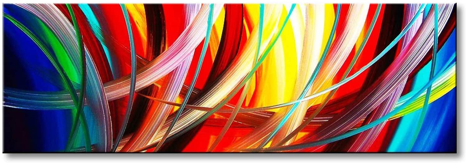 Amazon Com Abstract Wall Art Acrylic Painting On Canvas Hand Painted Modern Picture For Home Decoration Framed 60 W X 20 H Paintings