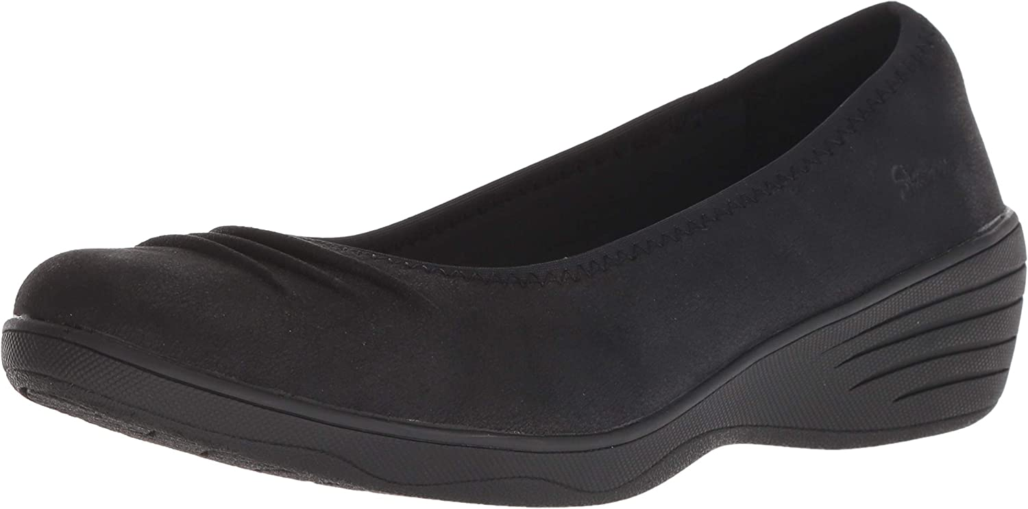 Skechers Womens Kiss-Ruffled - Rouched Vamp Skimmer Ballet Flat