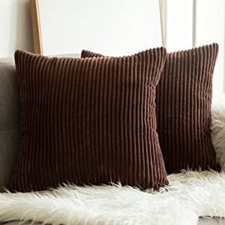 MIULEE Pack of 2 Corduroy Soft Solid Decorative Square Throw Pillow Covers Cushion Cases Pillow Cases for Couch Sofa Bedroom Car 26 x 26 Inch, Chocolate