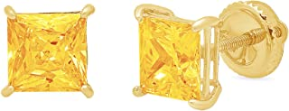 2.9ct Brilliant Princess Cut Solitaire Natural Yellow Citrine Gemstone Unisex Anniversary Gift Stud Earrings Solid 14k Yellow Gold Screw Back Clara Pucci conflict free Jewelry