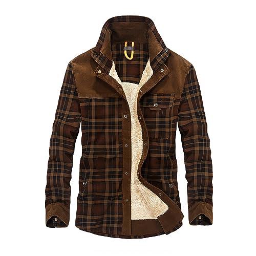 f2b4451c8f Mr.Stream Men s Padded Lumberjack Casual Long Sleeve Plaid Flannel Fur  Lined Button Warm Shirt