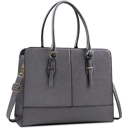 Lubardy Handtasche Damen Shopper Damen Groß Wasserdicht 15.6 Zoll Leder Laptop Tasche für Büro Arbeit Business Schule Grau
