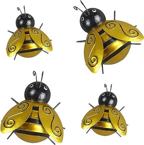 wholesale Bumble online sale Bee Wall Art Decor Outdoor Lawn Decor wholesale Garden Decoration, Yard Art Décor, Lawn Ornament Yellow Bee, Metal Wall Art Bee 3D Sculpture, Wall Decor Hanging Decorations, 4 Pack online