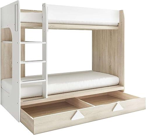 Avanti Trendstore - Miko - Etagenbett aus Eiche Sonoma WeißDekor mit integriertem Bettschubkasten. Ma BHT 204x159x107 cm