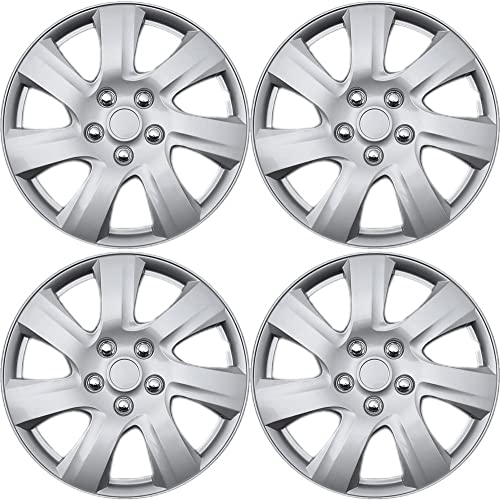 popular 17 inch Hubcaps Best for - Toyota Camry - (Set of 4) Wheel Covers 17in high quality Hub Caps Silver Rim Cover - Car Accessories for 17 inch new arrival Wheels - Snap On Hubcap, Auto Tire Replacement Exterior Cap sale