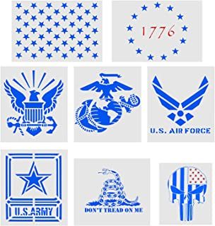 8 Pieces Plastic Stencil Drawing Template,US Air Force,US Army,Navy,Marine Corps,1776 Stars Flag,Rattlesnake Stencil,50 Star Stencil,Punisher Skull Flag Stencil Painting on Wood,Fabric,Wall