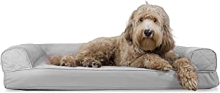 Furhaven Pet Dog Bed   Cooling Gel Memory Foam Orthopedic Quilted Sofa-Style Couch Pet Bed for Dogs & Cats, Silver Gray, L...