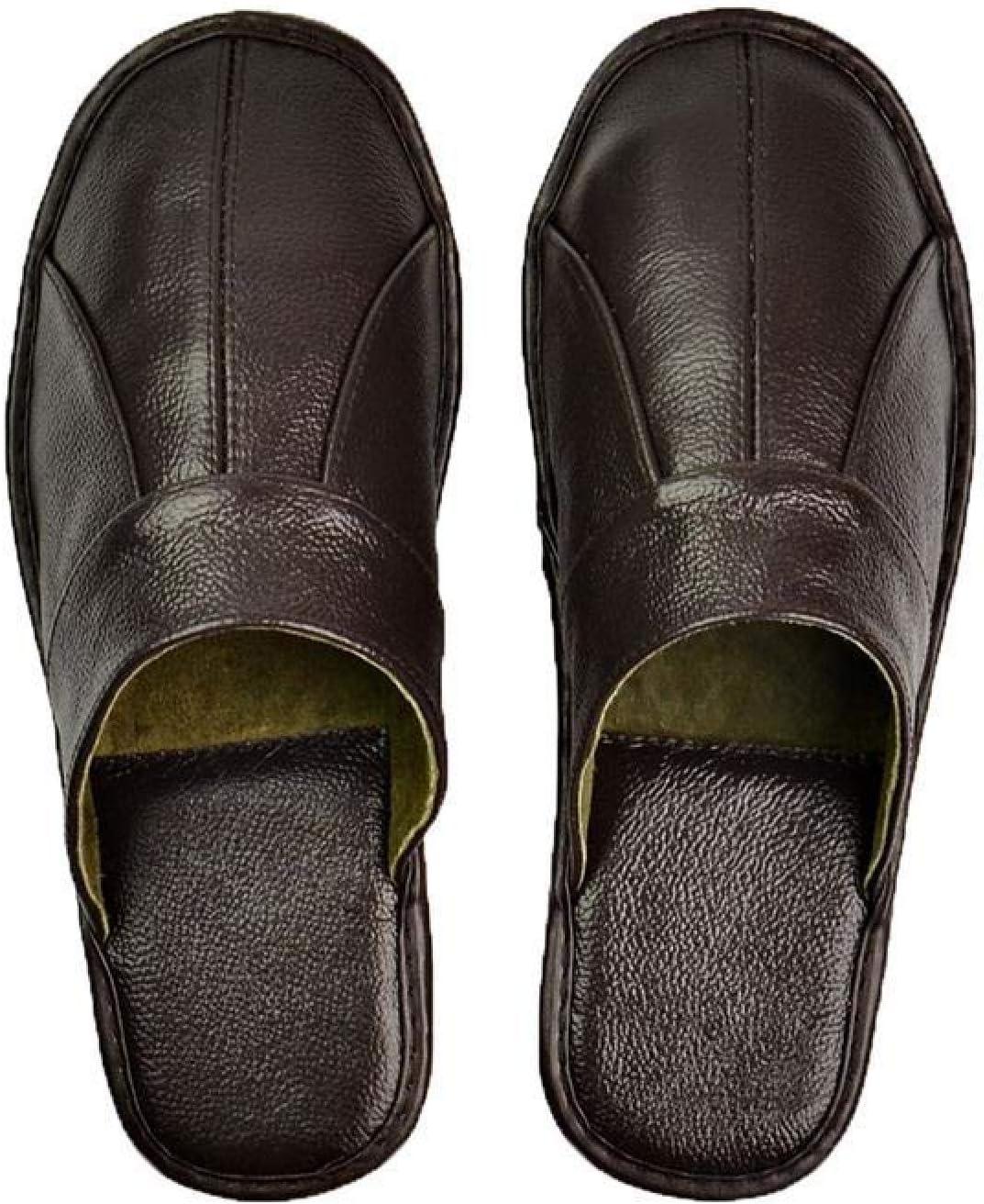 Men's 絶品 Leather Slippers Men 春の新作シューズ満載 Handmade Home House Luxury